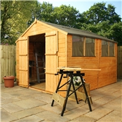 10ft x 8ft Tongue and Groove Wooden Apex Garden Shed With 4 Windows And Double Doors (10mm Solid OSB Floor) - 48HR + SAT Delivery*