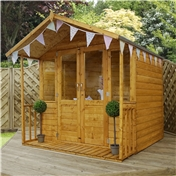 7ft x 8ft Premier Wooden Garden Summerhouse (1/2 Styrene Glazed Doors) (10mm Solid OSB Floor)