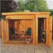 10ft x 8ft Contempory Gardenroom Large Combi (12mm T&G Floor & Roof) - 48HR & SAT Delivery*