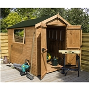 6ft x 6ft Premier Wooden Tongue and Groove Apex Shed with Double Doors + 1 Window (12mm Tongue and Groove Floor and Roof) - 48HR + SAT Delivery*