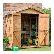 4ft x 6ft Wooden Tongue and Groove Windowless Apex Garden Shed with Double Doors (10mm Solid OSB Floor) - 48HR + SAT Delivery*
