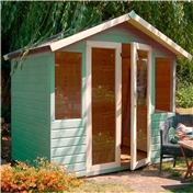 7ft x 5ft Premier Wooden Garden Summerhouse (Fully Glazed Doors) (10mm Solid OSB Floor) - *48HR + SAT Delivery*