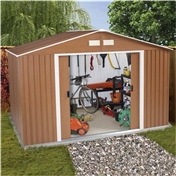10ft x 8ft Premier Woodgrain Metal Shed (3.22m x 2.44m) + FREE 72HR DELIVERY*