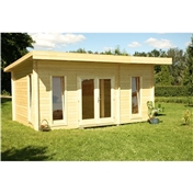 16ft x 10ft (5m x 3m) CHEVAK OPEN Log Cabin + FREE FELT ***'NO PARTITION*** - 44mm Wall Thickness