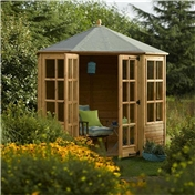Deluxe Ryton 8ft x 8ft  Octagonal Summerhouse (12mm Tongue and Groove Floor and Roof)