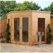 8ft x 8ft Premier Solis Corner Summerhouse (12mm T&G Floor & Roof) - 48HR & SAT Delivery*