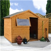 6ft x 8ft Tongue and Groove Reverse Apex Wooden Shed with Single Door + 1 Window (10mm Solid OSB Floor) - 48HR + SAT Delivery*