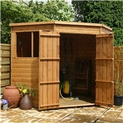 7ft x 7ft  Wooden Tongue And Groove Corner Wooden Shed with Double Doors + 2 Windows (10mm Solid OSB Floor) - 48HR + SAT Delivery*
