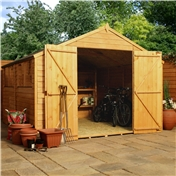10ft x 10ft Value Overlap Apex Wooden Workshop with Double Doors + 4 Windows (10mm Solid OSB Floor) - 48HR + SAT Delivery*