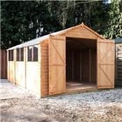 15ft x 10ft Value Overlap Apex Wooden Workshop With 6 Windows And Double Doors (10mm Solid OSB Floor) - 48HR + SAT Delivery*