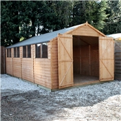 20ft x 10ft Value Overlap Apex Wooden Workshop with Double Doors + 8 Windows (10mm Solid OSB Floor) - 48HR & SAT Delivery*