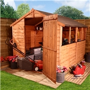 8FT x 6FT VALUE (RUSTIC) OVERLAP APEX SHED + 4 WINDOWS *FREE UK MAINLAND DELIVERY**