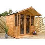 7ft x 7ft Premier Wooden Garden Summerhouse With Free Verandah (Fully Glazed Doors ) (10mm Solid OSB Floor) - 48HR + SAT Delivery*