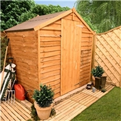 4FT x 6FT WINDOWLESS VALUE (RUSTIC) OVERLAP APEX SHED (10mm Solid OSB Floor & Roof)