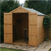 6ft x 6ft Tongue & Groove Apex Windowless Shed With Double Doors (Solid 10mm OSB Floor) - 48HR & SAT Delivery*