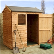 4ft x 6ft Value Reverse Overlap Apex Wooden Shed with Single Door + 1 Window (10mm Solid OSB Floor) - 48HR + SAT Delivery*