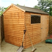 6ft x 8ft Value Reverse Wooden Overlap Apex Shed with Single Door + 1 Window (10mm Solid OSB Floor) - 48HR + SAT Delivery*
