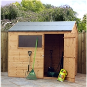 6ft x 8ft Wooden Tongue and Groove Reverse Apex Garden Shed with Single Door + 1 Window (10mm Solid OSB Floor) - 48HR + SAT Delivery*