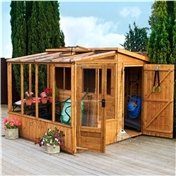 8ft x 8ft Premier Wooden Tongue and Groove Combi Pent Garden Shed with 2 Single Doors + Greenhouse (12mm Tongue and Groove Floor and Roof) - 48HR + SAT Delivery*