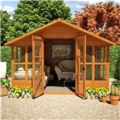 10ft x 10ft Havana Tongue & Groove Summerhouse With Overhang (10mm Solid OSB Floor & Roof)