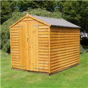 8ft x 6ft Windowless Overlap Apex Wooden Shed With Double Doors (Solid 10mm OSB Floor) - 48HR & SAT Delivery*