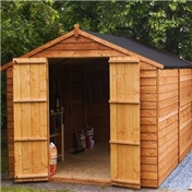 10ft x 8ft Windowless Value Overlap Apex Wooden Shed With Double Doors (10mm Solid OSB Floor) - 48HR + SAT Delivery*