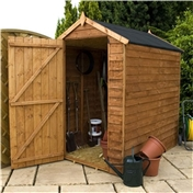 6ft x 4ft Windowless Value Overlap Apex Wooden Shed with Single Door (10mm Solid OSB Floor) - 48HR + SAT Delivery*