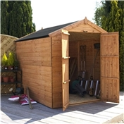 8ft x 6ft Windowless Tongue + Groove Apex Wooden Shed With Double Doors (solid 10mm OSB Floor) ***extended Delivery Typically 14 Working Days As Treated As Special