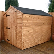 8ft x 6ft Windowless Tongue & Groove Apex Shed With Large Door (solid 10mm OSB Floor) ***extended Delivery Typically 14 Working Days As Treated As Special - Please See Product Page For More Info