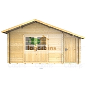 PREMIER 15ft x 12ft (4.5m x 3.5m) VILLAR Log Cabin - Double Glazing (34mm Wall Thickness)