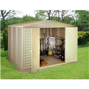 **PRE ORDER - DUE BACK IN STOCK 6TH OCTOBER ** 10ft x 10ft Duramax Plastic Pvc Shed With Steel Frame (3.19m x 3.19m)