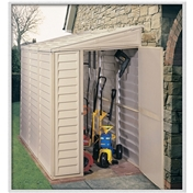 *** PRE ORDER - DUE BACK IN STOCK 10th NOVEMBER ** 4ft x 8ft Duramax Plastic Sidemate Pvc Shed With Steel Frame (1.21m x 2.39m)