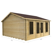 PREMIER 15ft x 15ft (4.5m x 4.5m) ORELLE Log Cabin -  Double Glazing (34mm Wall Thickness)