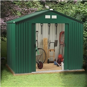 **PRE-ORDER** Due back into stock 2nd Week of May 2014*** 8ft x 8ft Premier All Green  Metal Shed (2.62m x 2.44m) + FREE 72HR DELIVERY*