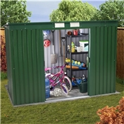 8ft x 4ft Premier Pent All Green  Metal Shed (2.53m x 1.12m) + FREE 72HR DELIVERY*
