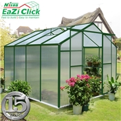8ft x 8ft Eazi Click Green Greenhouse with Higher Ridge Height + FREE BASE