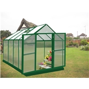 8ft x 8ft PREMIER Green Greenhouse Taurus 'Speed Click' + FREE BASE