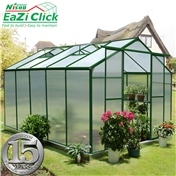 10ft x 8ft PREMIER Eazi Click Green Greenhouse + FREE BASE