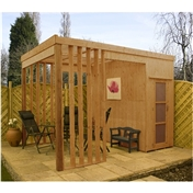 Contemporary Wooden Garden Shelter With Storage (2.39m x 3.50m) - 48HR + SAT Delivery*