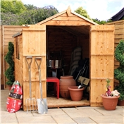 8ft x 6ft Buckingham Value Wooden Overlap Apex Garden Wooden Shed With Double Doors + 2 Windows (Solid 10mm OSB Floor) - 48HR + SAT Delivery*