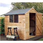 7ft x 5ft Buckingham Value Wooden Overlap Apex Garden Shed with Single Door + 2 Windows (10mm Solid OSB Floor) - 48HR + SAT Delivery*