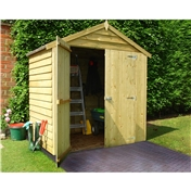 4ft x 6ft Pressure Treated Overlap Apex Garden Windowless Wooden Shed (10mm Solid OSB Floor)