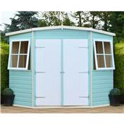 8ft x 8ft Stowe Tongue & Groove Corner Garden Pent Shed / Workshop (12mm Tongue and Groove Floor)