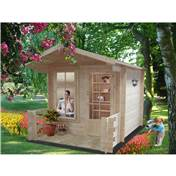 8ft x 8ft Stowe Howbury Log Cabin (2.39m x 2.39m) - 19mm Wall Thickness + optional verandah