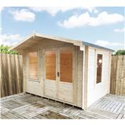 11ft x 8ft Stowe Waterloo Log Cabin (3.29m x 2.39m) - 19mm Wall Thickness