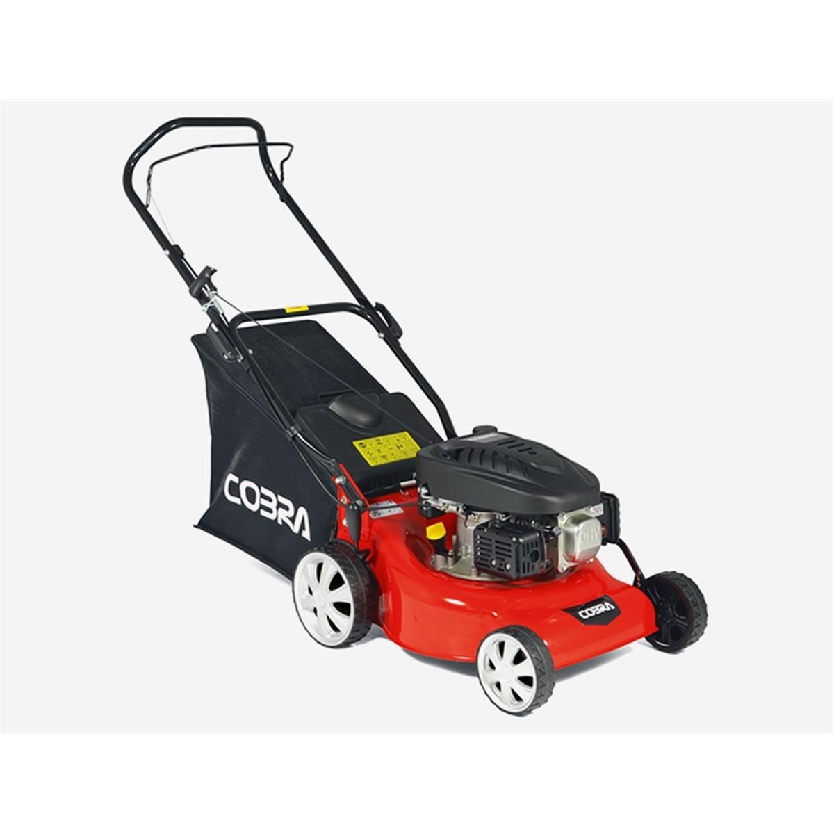 Petrol Rotary Push Lawnmower - 46cm - Cobra M46B - Free Oil