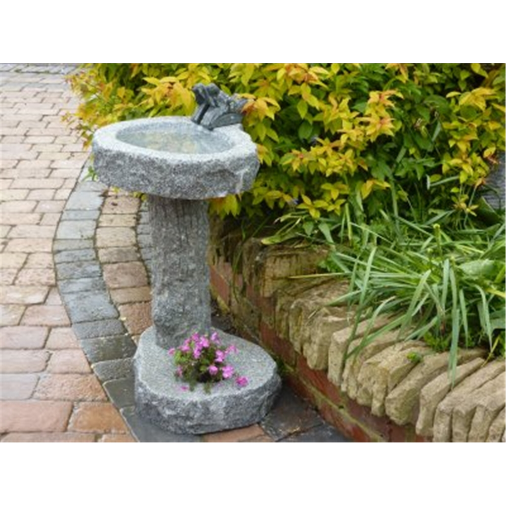 Grey Hand Carved Bird Bath With Planting Pot