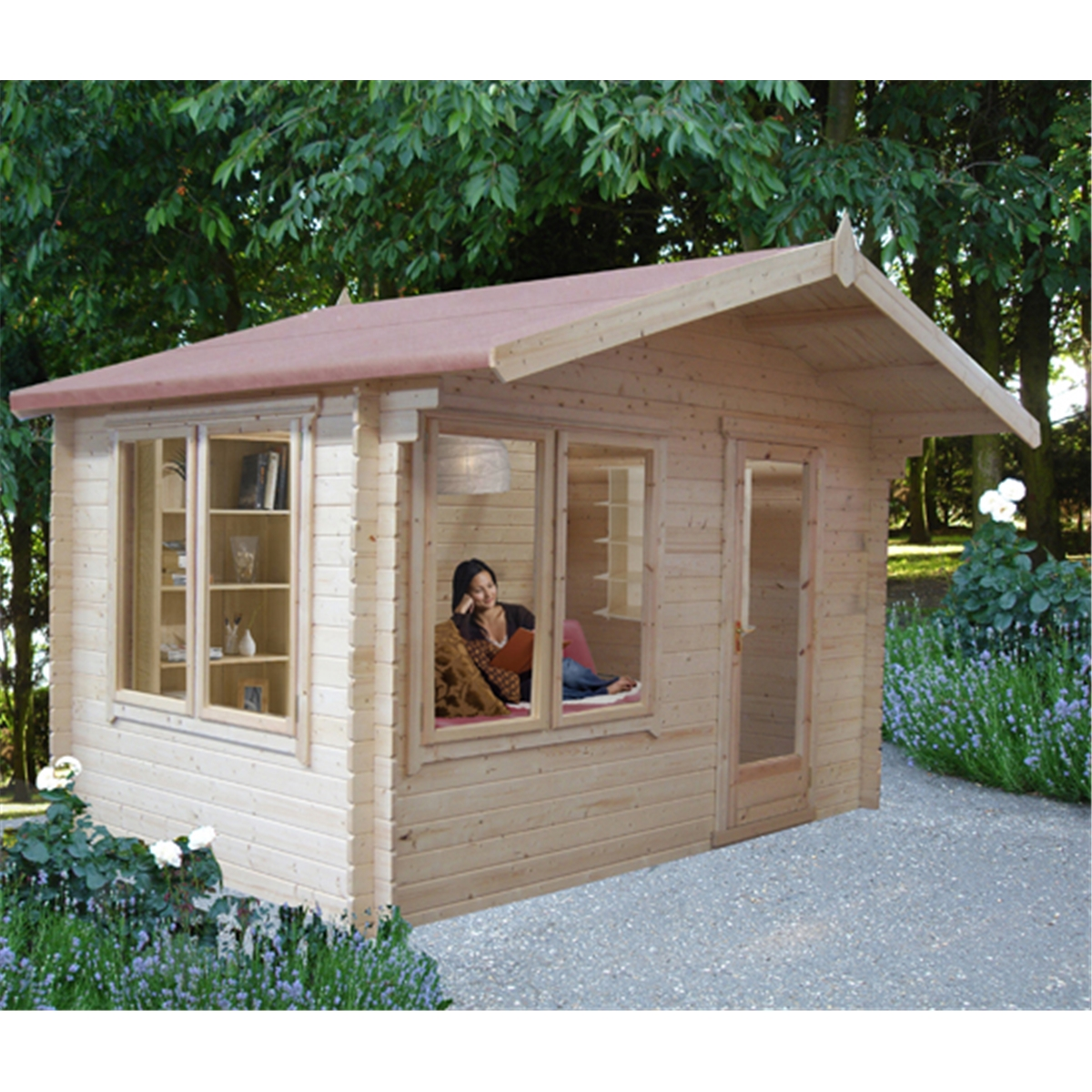 Garden Houses & Buildings 3.59m x 3.59m Log Cabin With Fully Glazed Single Door - 28mm Wall Thickness