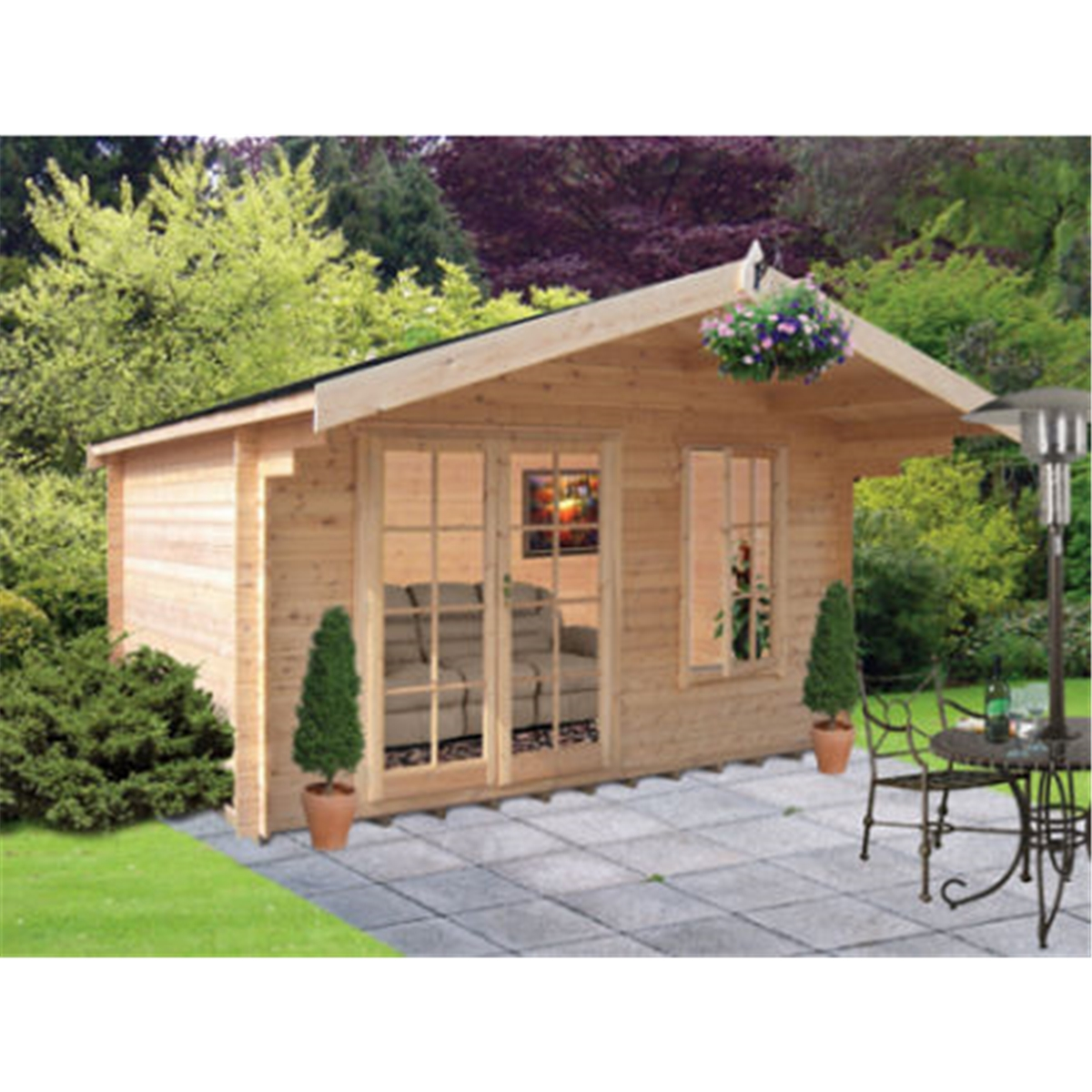 Garden Houses & Buildings 3.59m x 2.99m Log Cabin With Fully Glazed Double Doors - 28mm Wall Thickness