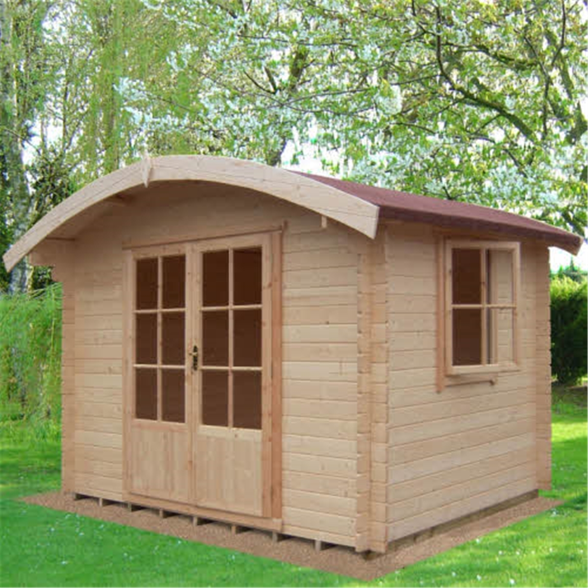 Garden Houses & Buildings 2.99m x 2.39m Log Cabin With Half Glazed Double Doors - 28mm Wall Thickness